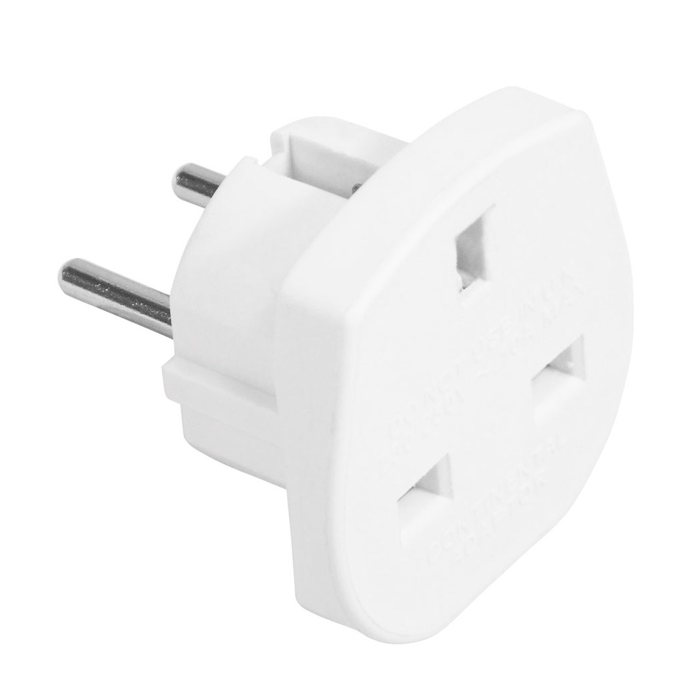 10 A Travel Adaptor (UK to European Schuko) White
