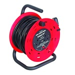 A Red and Black 2 Gang 30 m extension reeler with stand, carry handle and reset button.
